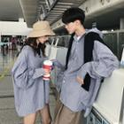 Couple Matching Pinstriped Hooded Shirt