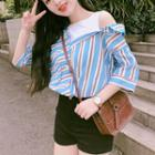 Striped Elbow-sleeve Mock Two-piece Shirt