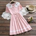 Embroidered Collared Short-sleeve A-line Dress