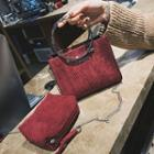 Woolen Mini Shoulder Bag With Pouch