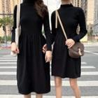 Mock Neck Long-sleeve A-line Dress / Midi Dress