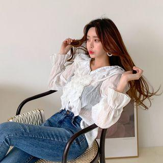 Ruffled Crinkled Sheer Blouse