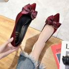 Bow-accent Pointy-toe Kitten Heel Pumps