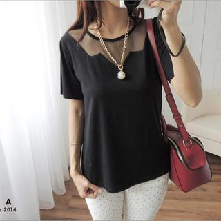 Short-sleeve Mesh-panel Top