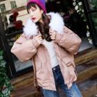 Furry Trim Padded Hooded Jacket