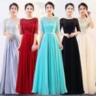 Short-sleeve Mesh Panel A-line Evening Gown