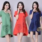 Flower Applique Short Sleeve T-shirt Dress