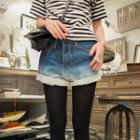 Gradient Denim Shorts