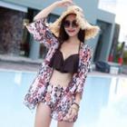 Set: Patterned Ruffle Bikini + Cover Up