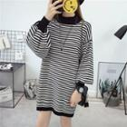 Long-sleeve Mock-neck Striped Knit Dress