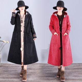 Corduroy Hooded Midi Coat