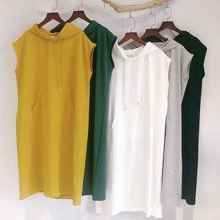 Plain Sleeveless Midi Hoodie Dress
