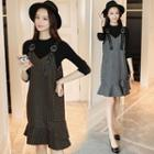Long-sleeve Knit Top / Striped Ruffle Hem Pinafore Dress / Set