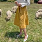 High-waist Pocket-side Linen Skirt With Sash