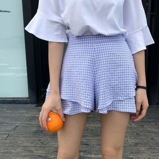 Gingham Wide-leg Shorts