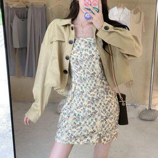 Single-breasted Jacket / Floral Print Spaghetti-strap Mini A-line Dress
