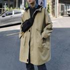 Plain Zip Hooded Coat