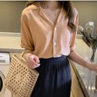Square-buttoned Plain Short-sleeve Blouse