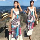 Patterned Sleevelss Maxi Sun Dress