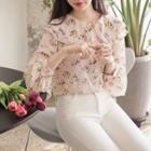 Layered-collar Floral Chiffon Blouse