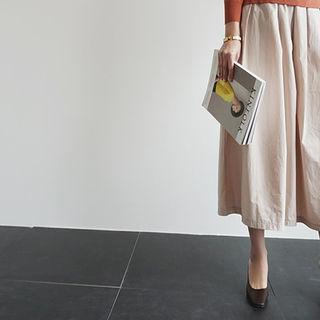 Band-waist A-line Cotton Skirt