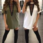 Lace-up Tunic Top