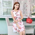 Rose Print Sleeveless A-line Chiffon Dress