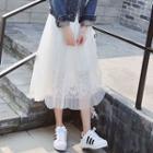 Tulle Overlay Lace Midi Skirt