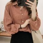 Lantern-sleeve Checked Shirt