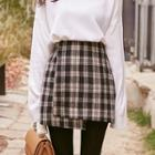 Plaid Asymmetric Mini Wrap Skirt