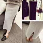 Plain Midi Ribbed Knit Skirt
