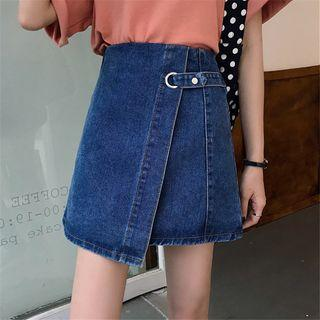 Asymmetric A-line Mini Denim Skirt