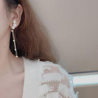Faux Pearl Chained Dangle Earring Gold - One Size