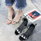 Ankle-strap Plaid Chunky-heel Sandals