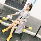Lettering Strap Plaid Trench Coat
