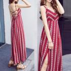 Spaghetti Strap Striped Midi Sun Dress