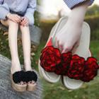 Flower Slide Platform Wedge Sandals