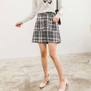 Zip-front Checked Mini Skirt