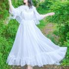 Plain Ruffled Midi Dress