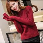 Lace-up Back Melange Knit Sweater