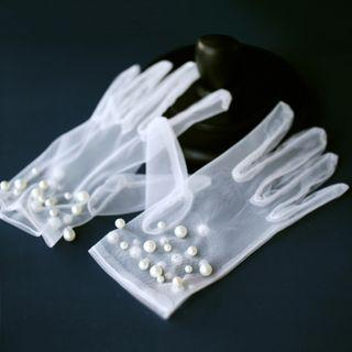 Wedding Faux Pearl Mesh Gloves 1 Pair - White - One Size