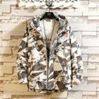 Patterned Zip Hooded Jacket
