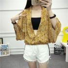 Patterned Elbow-sleeve Chiffon Top