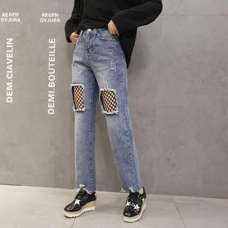 Fishnet Panel Washed Straight Cut Jeans