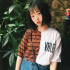 Short Sleeve Contrast Striped Panel T-shirt