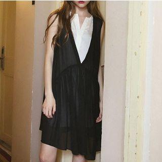 Mock Two-piece Chiffon Dress Black - One Size