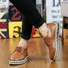 Paneled Wing-tip Lace-up Oxfords