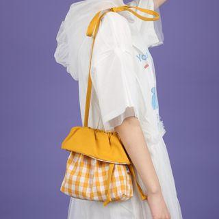 Plaid Crossbody Bag Gingham - Yellow & White - One Size