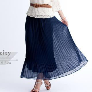 Accordion-pleat Maxi Skirt