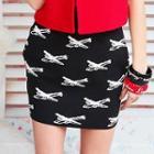 Patterned Knit Miniskirt